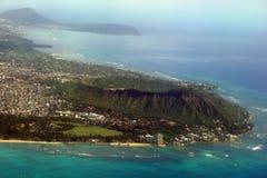 Vista aerea di Diamondhead, parco di Kapiolani, Waikiki, natatorio, Immagini Stock Libere da Diritti