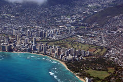 Vista aerea di Diamondhead, parco di Kapiolani, Waikiki, Shell, ala Immagini Stock Libere da Diritti