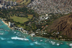 Vista aerea di Diamondhead, parco di Kapiolani, Waikiki, Shell, Kapa Fotografia Stock