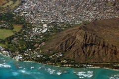 Vista aerea di Diamondhead, parco di Kapiolani, Waikiki, Shell, Kapa Fotografie Stock Libere da Diritti