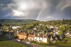 Vista aerea di Dorking, Surrey, Regno Unito immagine stock