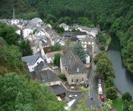 Vista aerea di Esch-sur-Sûre Immagine Stock
