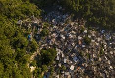 Vista aerea di Favela Santa Marta in Rio de Janeiro Fotografie Stock Libere da Diritti