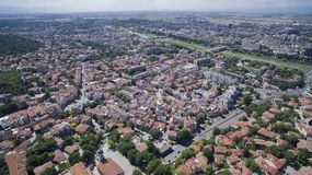 Vista aerea di Filippopoli, Bulgaria fotografia stock