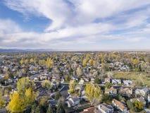 Vista aerea di Fort Collins Fotografia Stock