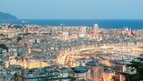 Vista aerea di Genova durante l'ora blu Fotografia Stock