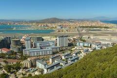 Vista aerea di Gibilterra, territorio del Regno Unito Fotografia Stock
