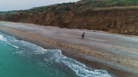 Vista aerea di giovani coppie dal mare stock footage