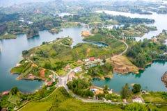Vista aerea di Guatape in Antioquia, Colombia Fotografia Stock Libera da Diritti