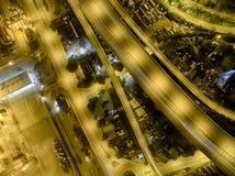 Vista aerea di Hong Kong Night Scene, Kwai Chung nel colore dorato Fotografie Stock