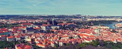 Vista aerea di Hradchany: la cattedrale di Vitus del san (st Vitt) Fotografia Stock