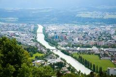 Vista aerea di Innsbruck Fiume della locanda Immagine Stock