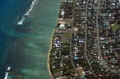 Vista aerea di Kahala, della spiaggia e dell'oceano Pacifico Immagini Stock