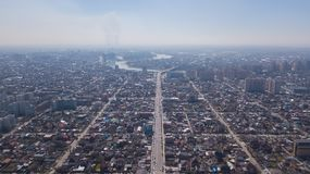 Vista aerea di Krasnodar, Federazione Russa, 2019 della città fotografia stock libera da diritti