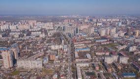 Vista aerea di Krasnodar, Federazione Russa, 2019 della citt? fotografia stock libera da diritti