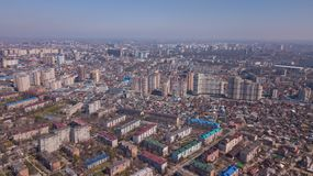 Vista aerea di Krasnodar, Federazione Russa, 2019 della citt? immagini stock libere da diritti
