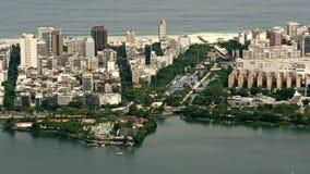 Vista aerea di Lago de Rodrigo Freitas Lagoon Immagine Stock