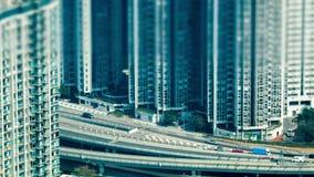 Vista aerea di lasso di tempo della strada principale occupata della città moderna Hon Kong video d archivio