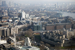 Vista aerea di Londra dalla costruzione del walkie-talkie sulla via di 20 Fenchurch Immagini Stock Libere da Diritti