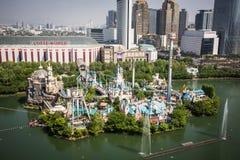 Vista aerea di Lotte World Magic Island del parco di divertimenti Immagine Stock