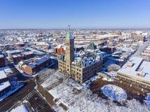 Vista aerea di Lowell City Hall, Massachusetts, U.S.A. Immagine Stock Libera da Diritti