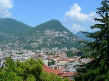 Vista aerea di Lugano, Svizzera Fotografia Stock Libera da Diritti
