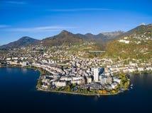 Vista aerea di lungomare di Montreux, Svizzera Immagine Stock