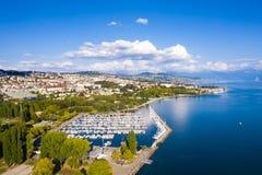 Vista aerea di lungomare di Ouchy a Losanna Svizzera immagini stock libere da diritti