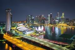 Vista aerea di lungomare di Singapore con architettura moderna Fotografia Stock Libera da Diritti