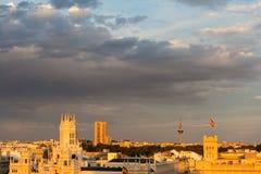 Vista aerea di Madrid durante l'ora dorata Fotografie Stock Libere da Diritti