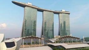 Vista aerea di Marina Bay Sands Singapore colpo Vista aerea dell'orizzonte della citt? di Singapore con Marina Bay Sands archivi video