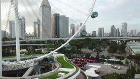 Vista aerea di Marina Bay a Singapore stock footage