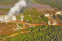 Vista aerea di mattina delle cascate di Iguazu Fotografia Stock
