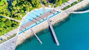 Vista aerea di Molos, Limassol, Cipro immagini stock libere da diritti