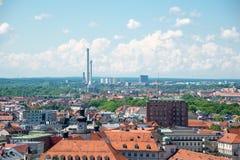 Vista aerea di Monaco di Baviera in un giorno di estate in Germania Fotografia Stock Libera da Diritti