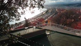 Vista aerea di Nizza e Promenade des Anglais in Francia stock footage