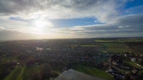 Vista aerea di orario invernale dell'alloggio Immagine Stock