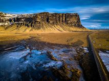 Vista aerea di paesaggio islandese irregolare Immagine Stock
