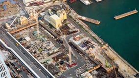 Vista aerea di paesaggio urbano alla costruzione di edifici Hon Kong Lasso di tempo archivi video