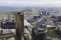 Vista aerea di paesaggio urbano di Melbourne durante il giorno Fotografie Stock