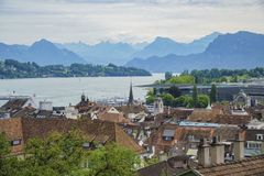 Vista aerea di paesaggio urbano di Lucerna Fotografia Stock Libera da Diritti