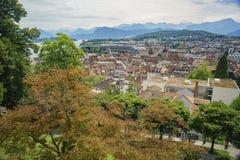 Vista aerea di paesaggio urbano di Lucerna Immagini Stock