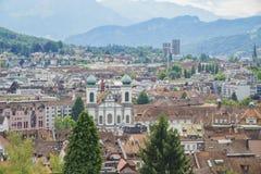 Vista aerea di paesaggio urbano di Lucerna Immagini Stock Libere da Diritti