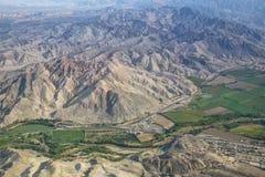 Vista aerea di Pampa de Jumana vicino a Nazca, Perù Fotografie Stock