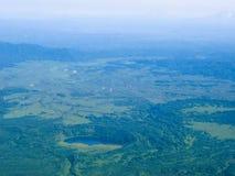 Vista aerea di panorama ai fiumi ed alla tundra di Kamchatka alla penisola di Kamchatka, Russia Fotografia Stock Libera da Diritti