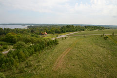 Vista aerea di panorama della foresta dei campi delle aziende agricole Fotografia Stock Libera da Diritti
