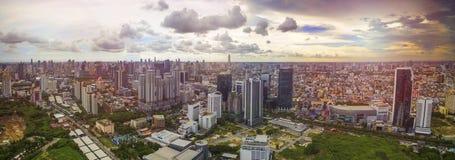 Vista aerea di panorama della strada del distretto del moder ratchadaphised recentemente Fotografia Stock
