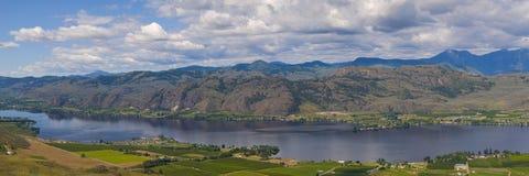Vista aerea di panorama della valle del vino di Osoyoos Fotografia Stock