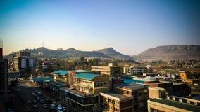 Vista aerea di panorama a Maseru, capitale del Lesotho immagine stock libera da diritti