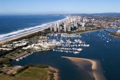 Vista aerea di paradiso dei surfisti dall'elicottero Immagini Stock